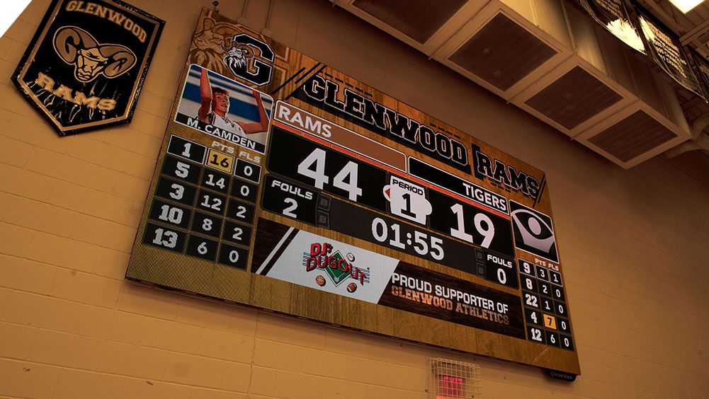 iB1609 Basketball LED Video Scoreboard with Leaderboard at Glenwood High School
