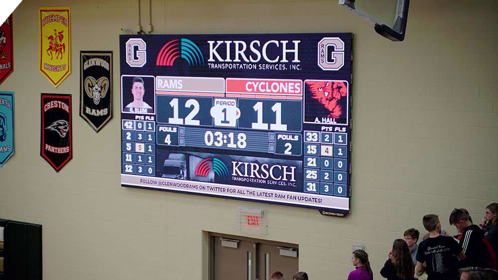 iB1609 Basketball LED Video Scoreboard with Leaderboard at Glenwood High School 2