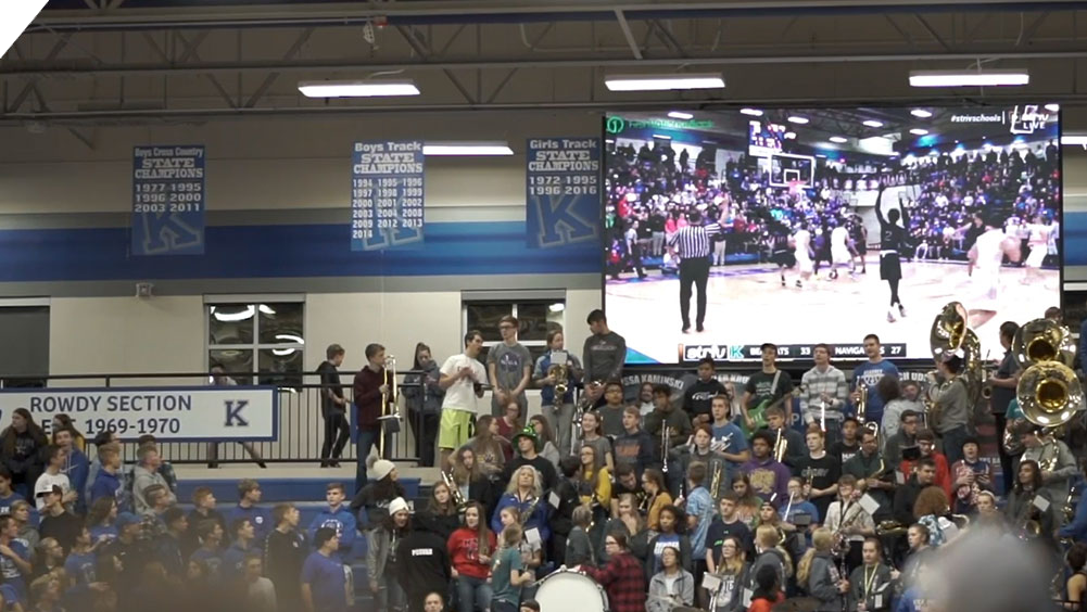 iB1609 Basketball LED Video Scoreboard with Video Feed at Kearney High School