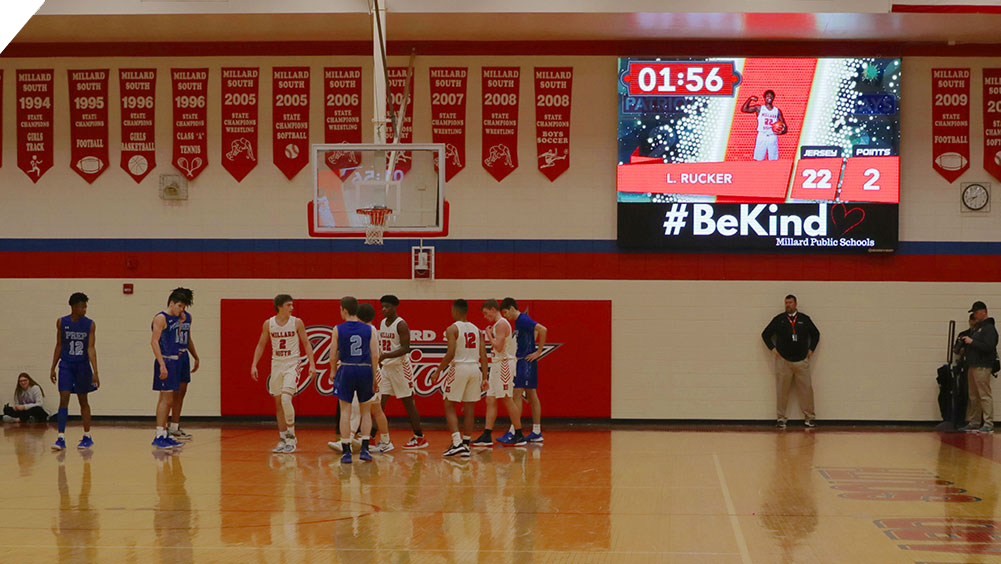 iB1410 Basketball LED Video Scoreboard with Player Accolade at Millard South High School