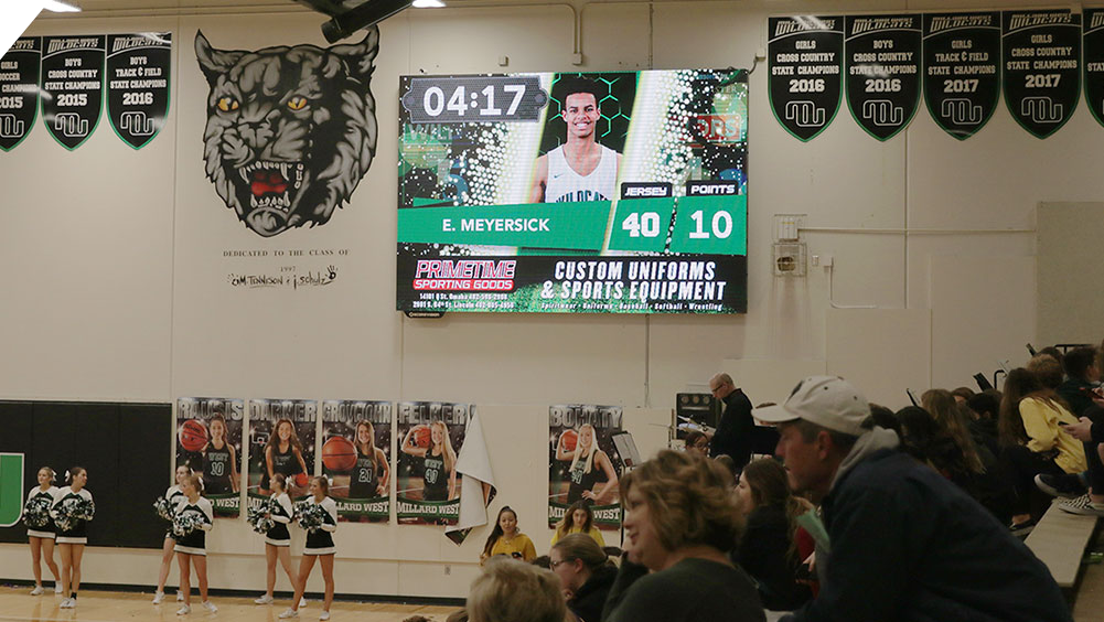 iB1410 Basketball LED Video Scoreboard with Player Accolade at Millard West High School