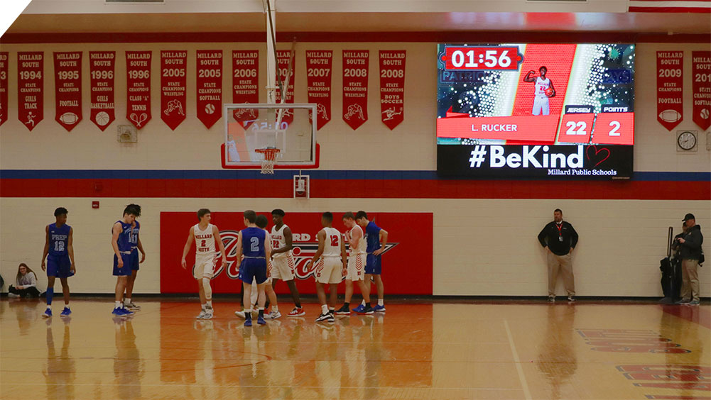 LED Basketball Video Scoreboard at Millard South High School 2