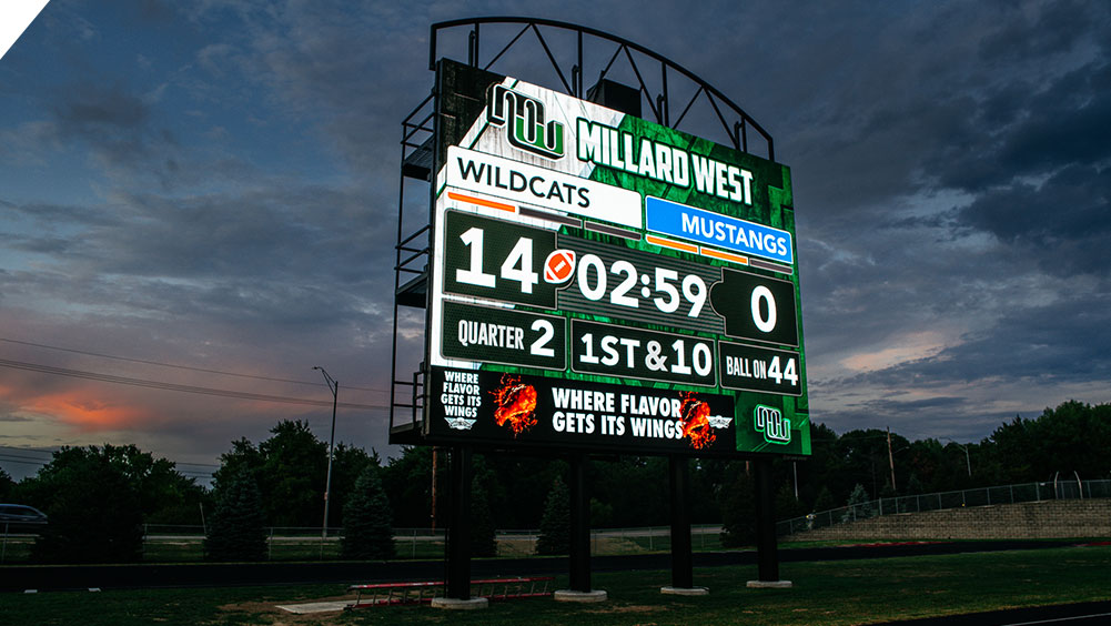 LED Football Video Scoreboard at Millard Buell Stadium