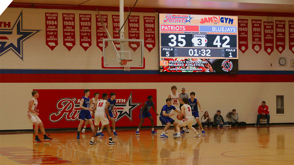 LED Basketball Video Scoreboard at Millard South High School