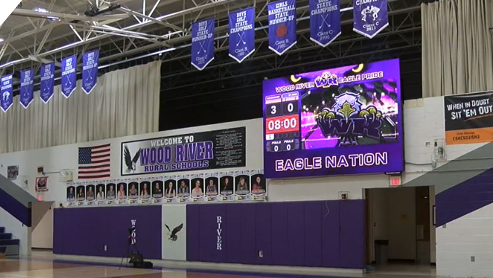 LED Basketball Video Scoreboard at Wood River High School