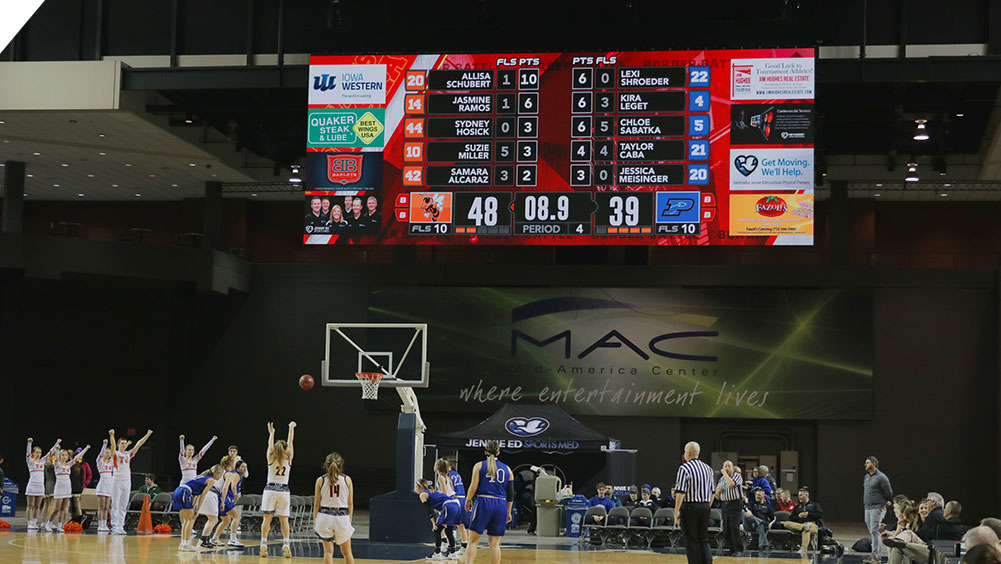 LED Basketball Video Scoreboard at Mid America Center