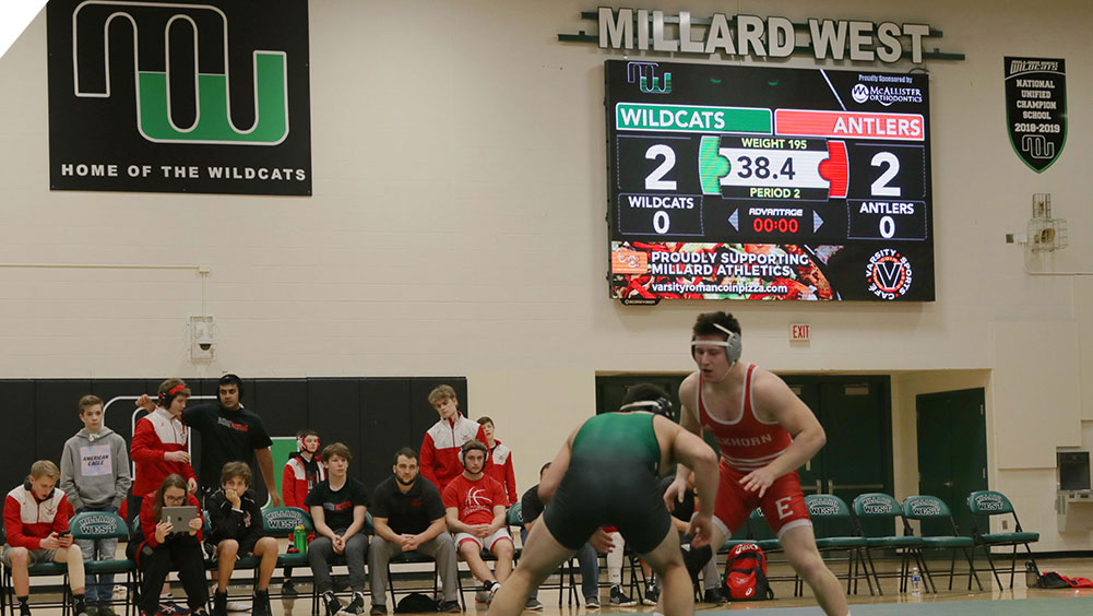 LED Wrestling Video Scoreboard at Millard West High School