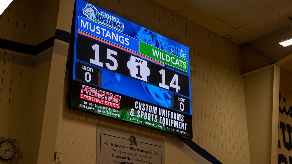 LED Volleyball Video Scoreboard at Millard North High School