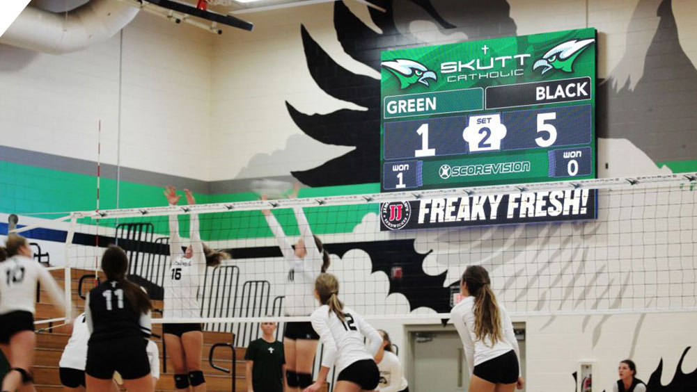 LED Volleyball Video Scoreboard at Skutt Catholic High School