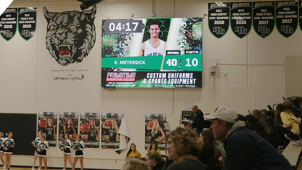 LED Basketball Video Scoreboard at Millard West High School 2