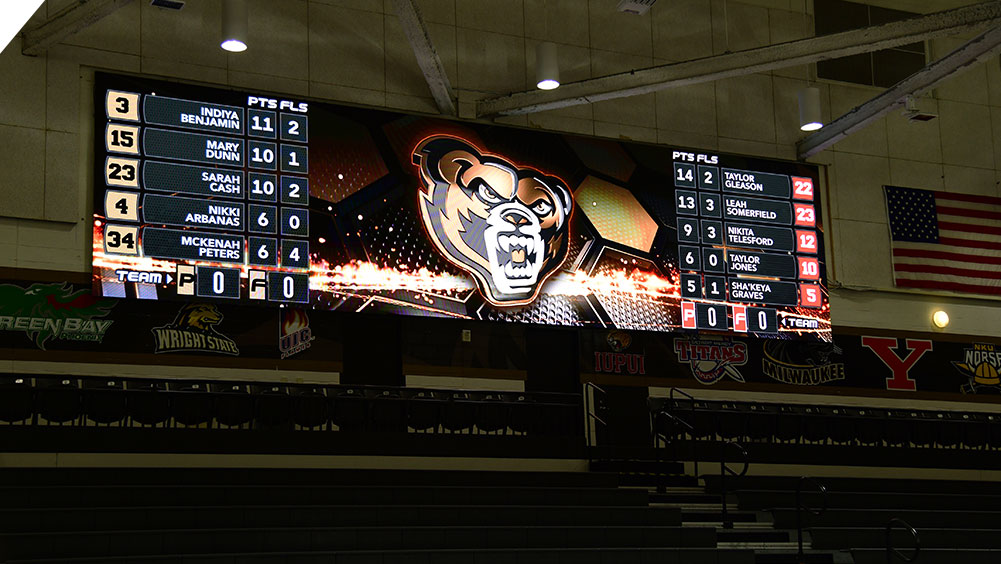 LED Basketball Video Scoreboard at Oakland University