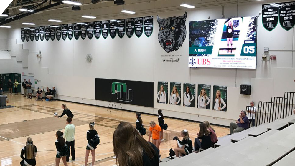 iB1410 Volleyball LED Video Scoreboard with Player Accolade at Millard West High School