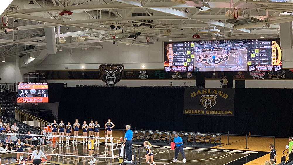 iB4010 Volleyball LED Video Scoreboard with Leaderboard and Live Video at Oakland University