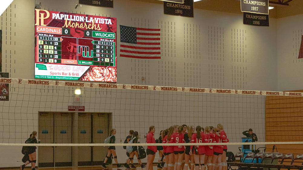 iB1410 Volleyball LED Video Scoreboard with Leaderboard at Papillion High School
