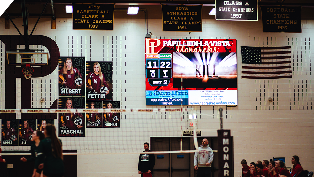 iB1410 Volleyball LED Video Scoreboard with Sport Animation at Papillion High School