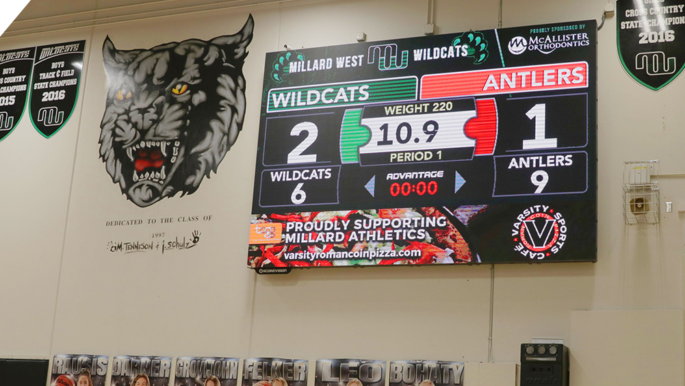 iB1410 Wrestling LED Video Scoreboard at Millard West High School